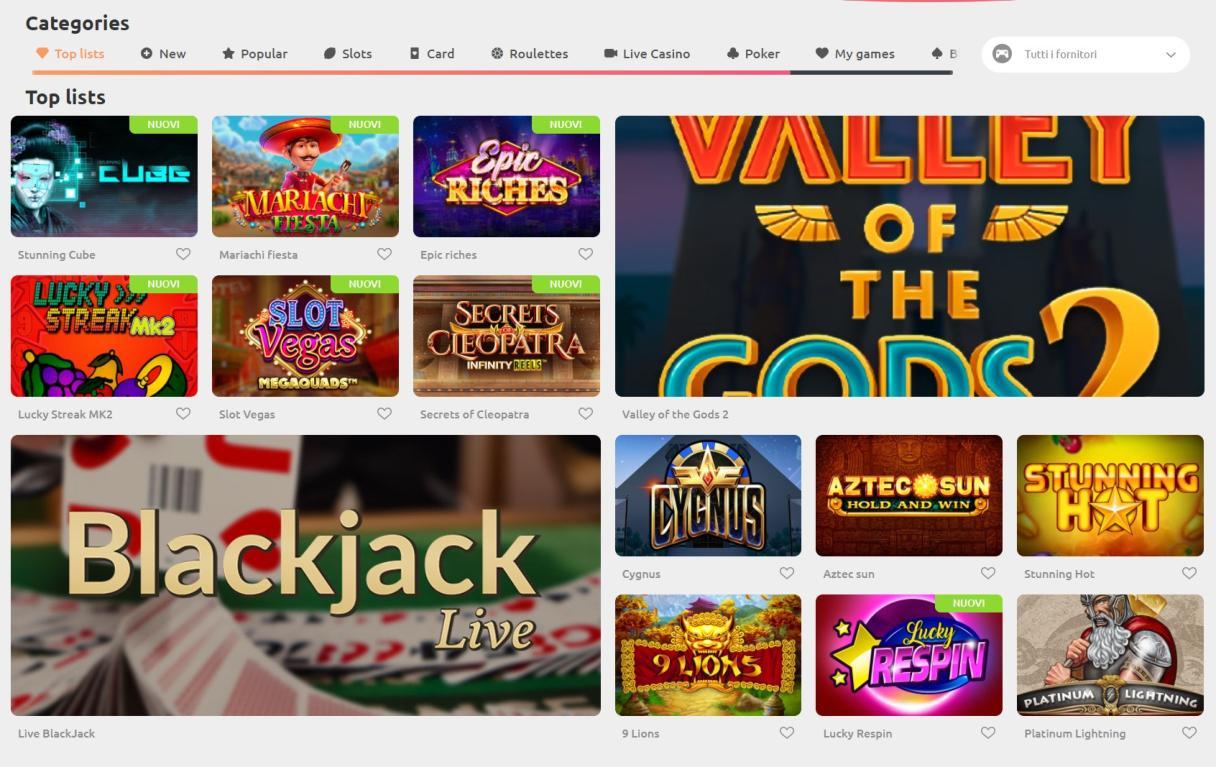 Giochi disponibili su cadoola casino