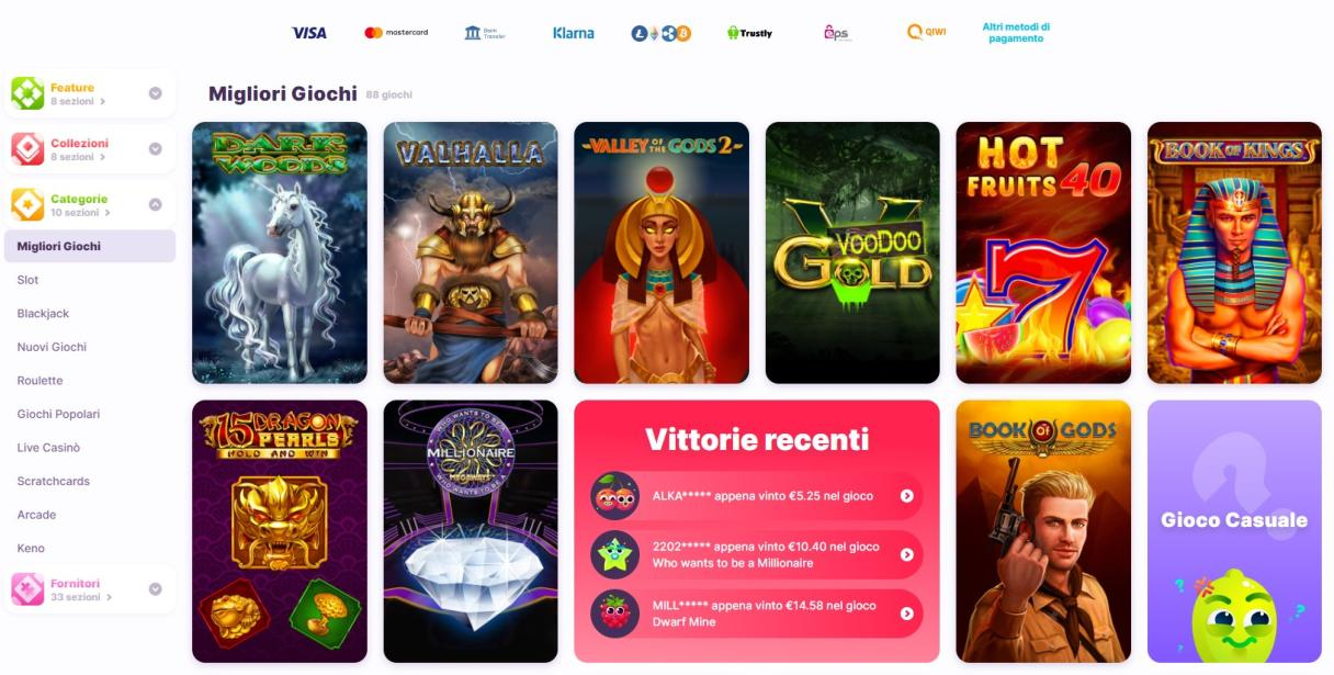 Giochi disponibili su nomini casino