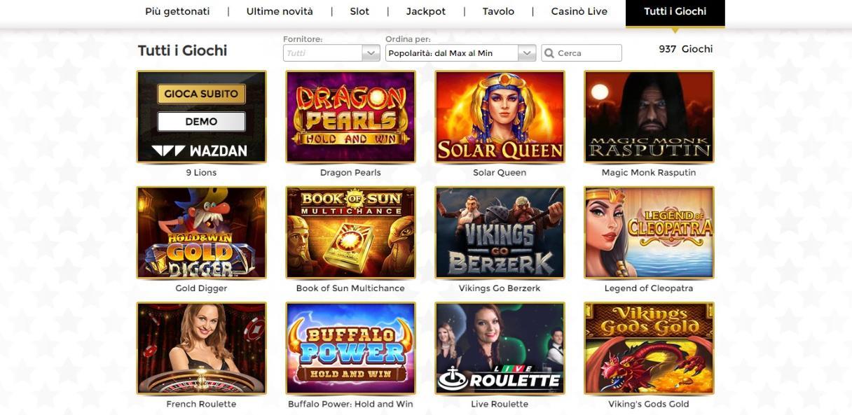 Giochi disponibili su unique casino