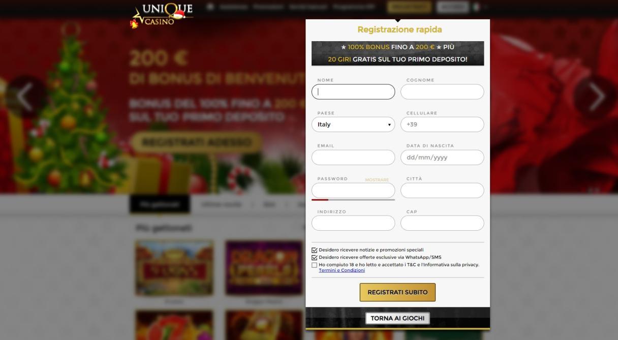 Come aprire un account su unique casino