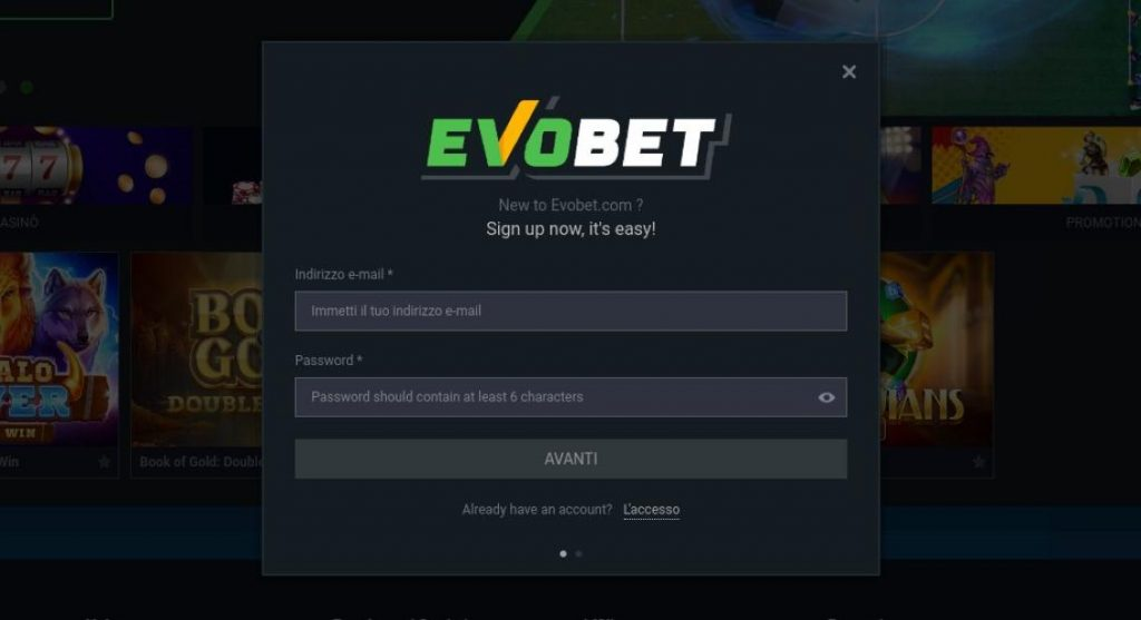 Come aprire un account su EvoBet