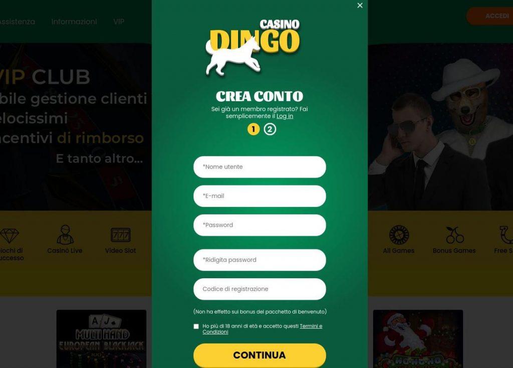Come aprire un account su Dingo Casino