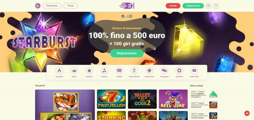 COME APRIRE UN ACCOUNT SU YOYO CASINO