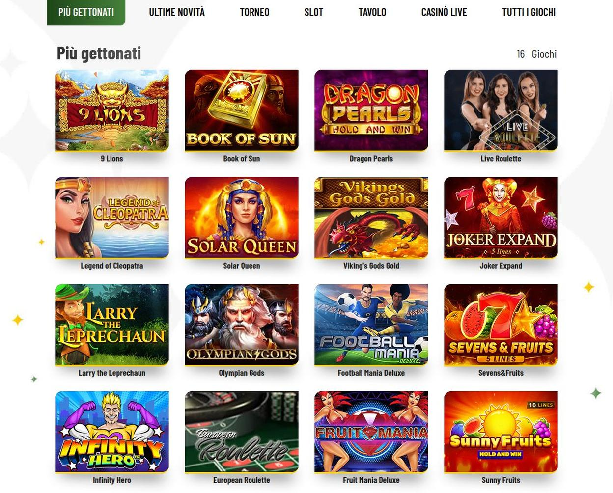 Giochi disponibili su machance casino
