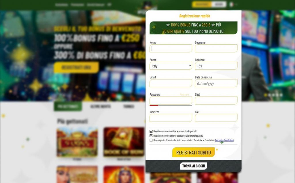 Come aprire un account su machance casino