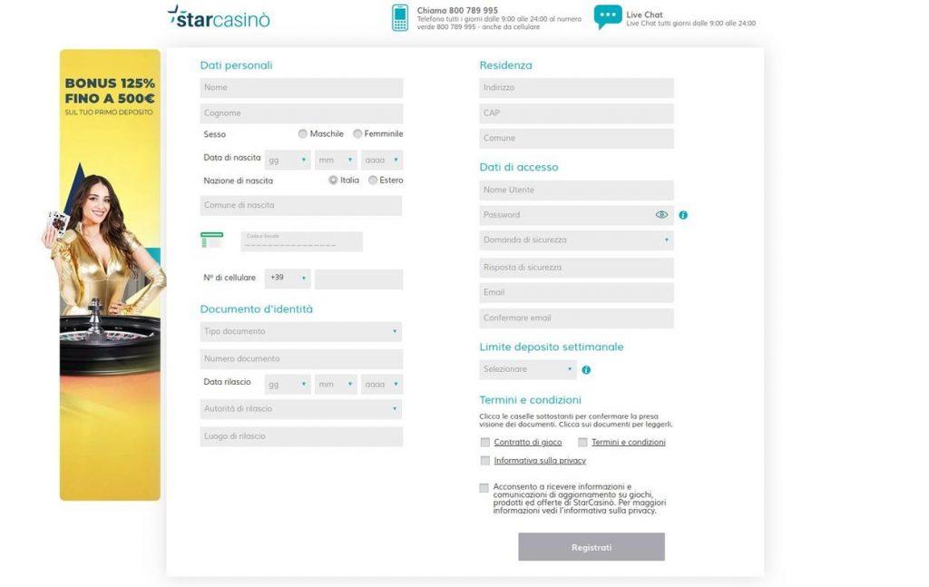 Come iscriversi a Star Casino